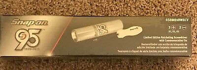 New Snap-on Ratcheting Screwdriver Pearl White Handle 95th. Limited Ed.TIN
