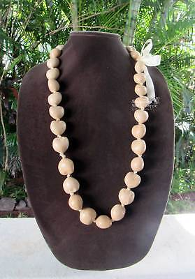 Hawaii Wedding / Graduation New BLONDE Kukui Nut Lei Luau Hula Jewelry Necklace