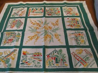 "San Francisco Collectible Tablecloth including scenes from the area--33"" x 36""."