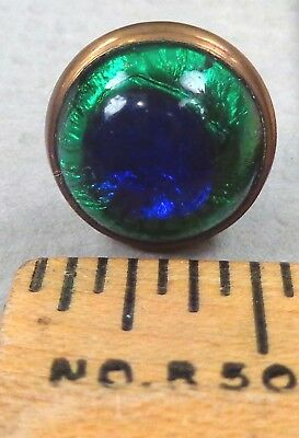 BIRMINGHAM TRANSFER Waistcoat BUTTON, 1800s Glass PEACOCK EYE, 1/2""