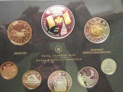 2005 Canada Silver Proof set, 8 coins, 40th anniversary Canada's Flag