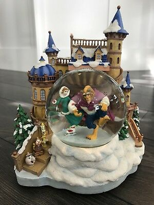 Disney Beauty And The Beast Musical Snowglobe Winter Ice Skating Scene Vintage