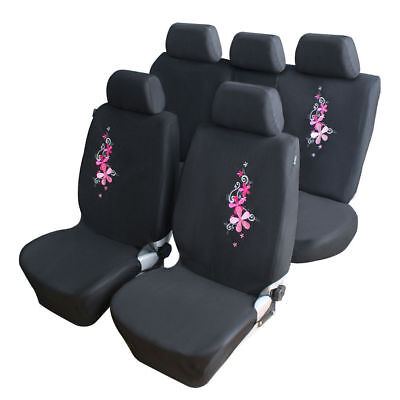 Universal 9pcs Pink Flower Embroidery Car Full Seat Covers Interior Protector