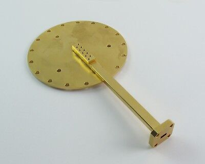 Gold Plated Radial Antenna Waveguide WR-22, 33-50 GHz, lots of gold!