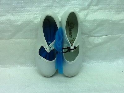 Dance Class White/Blue Bow T300 Slip Tap Shoes By Trimfoot H13 Toddlers Sz 8 GUC