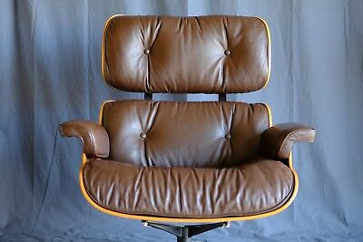 Authentic Vintage Herman Miller Lounge Chair, Chocolate Brown Original Leather,