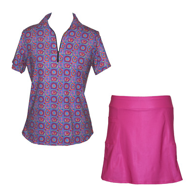 BNWT, Golf outfit with Pink Skort and Splash Print Top, FREE SHIPPING!