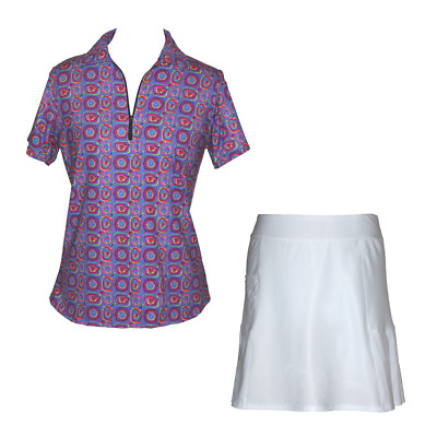 BNWT, Golf Outfit with White Skort and Splash Print Top, FREE SHIPPING!