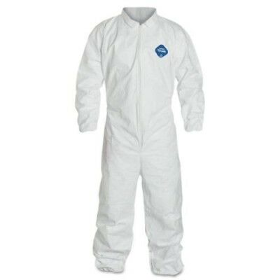 Dupont TY125S White Tyvek Disposable Coverall Bunny Suit W/Elastic, Size L or XL
