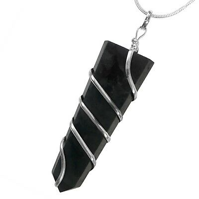 Real Shungite Wire Wrapped Spiral Pendant Silver Necklace Handmade Reiki Heal