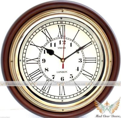 Antique Style Vintage Brass Handcrafted Wood Designer Smith London Wall Clock