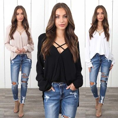 Women's Long Sleeve Loose Blouse Sexy Casual Shirt Summer Tops Fashion T-Shirt