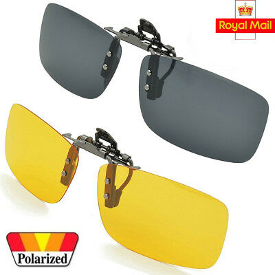 Sunglasses Polarized Clip On Flip-up Driving Glasses Night Vision Lens UV400