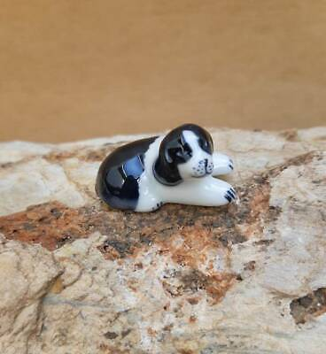 Miniature Ceramic Basset Hound Puppy Couple Dogs Figurine Collectible Gift