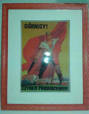 Framed reprint of the Polish Communist Party PZPR poster from 1954