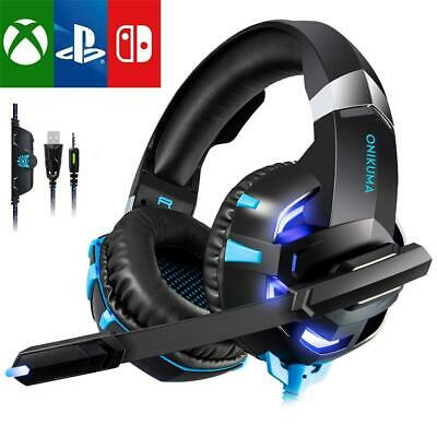 3.5mm Gaming Headset LED Headphones Surround for PC Laptop PS4 Xbox One X 360