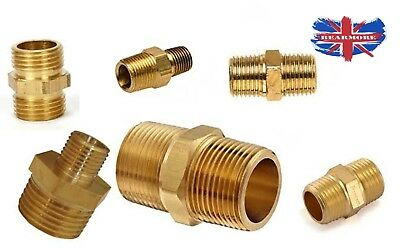 Brass Bsp Threads Male To Male Adapter Adaptors Connecting Reducer Nipple Hex