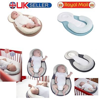 Baby Safe Cotton Anti Roll Pillow Sleep Flat Bedding Mattress Head Positioner UK