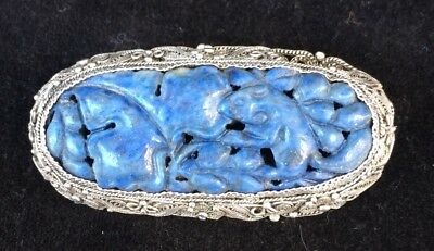 Antique Chinese Silver Filigree Brooch With Lapis Panel