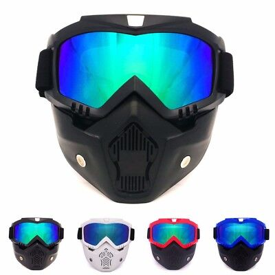 Modular Motorcycle Harley Style Helmet Open Face Mask Shield Detachable Goggles