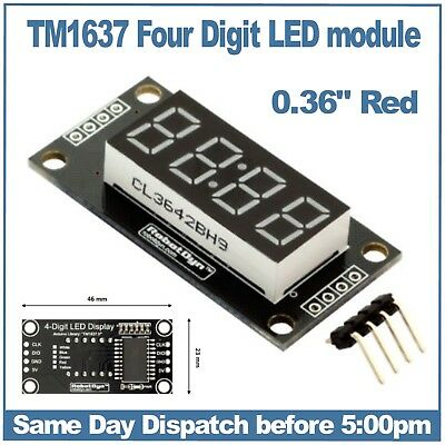 "4 digit 7 Seven segment display module 0.36"" Red TM1637 Clock points RobotDyn"