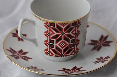 Ukrainian Star Design Cup and Saucer in Red, Black and White