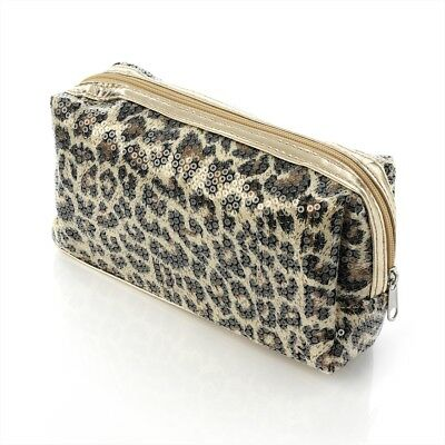 Brown Animal Print and Sequin Design Cosmetic Make Up Bag Purse Beauty