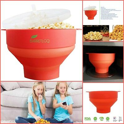 Popcorn Popper Silicone Collapsible Microwave Popcorn Maker Kitchen Gadgets Red