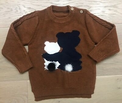 New Toddler Baby Boy Jumper Knitted Sweater Cardigan Brown Pom Pom 2 RRP $55
