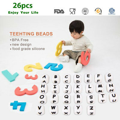 26pcs DIY Letter Safe Silicone Teething Beads For Baby Teether Pacifier Funny