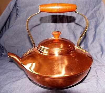 Genuine Argy Europe Vintage French Copper Kettle - Brass & wood Handle NO RESERV
