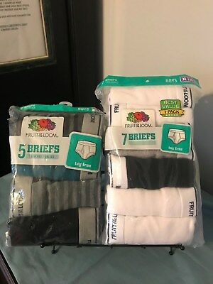 FRUIT of the LOOM Boy's 100% Cotton~Tag Free BRIEFS ~ Size XL~ 5 Pack or 7 Pack