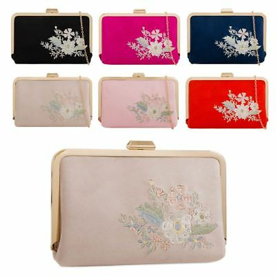 New Ladies Faux Suede Floral Embroidery Party Formal Clutch Bag Purse