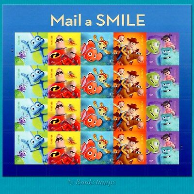 20 Forever Stamps Pixar Sheet Monsters Toy Story Nemo Incredibles  Mail A Smile