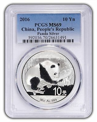 2016 China 10 Yuan Silver Panda PCGS MS69 - Blue Label