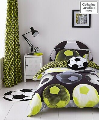 Catherine Lansfield Girl/Boy Neon Football Duvet Cover Bedding Set Range Yellow