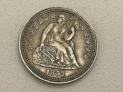 1857 Seated Liberty Dime High Grade Full LIberty Estate Find 10 Cent Pc