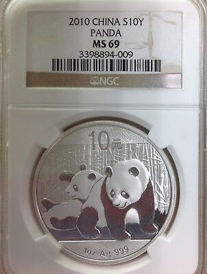 2010 10Y Chinese Panda Silver 1oz .999 Fine Coin - NGC MS69