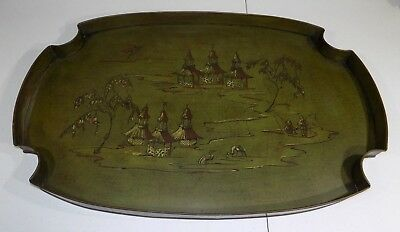 """1950's 30"""" Hand painted metal serving tray Chinese chinoiserie style toleware"""