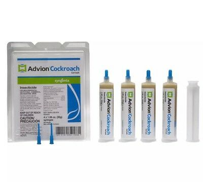 Syngenta Advion Roach Killer / Cockroach Gel Bait 4 Tubes with Plunger and Tips
