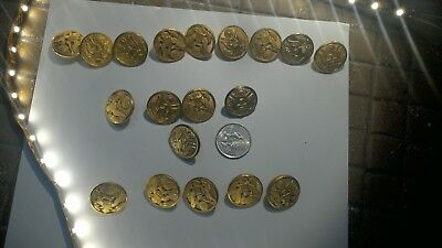 Vintage US Military Brass BUTTONS. Eagle & Shield WATERBURY CONN. lot of 20