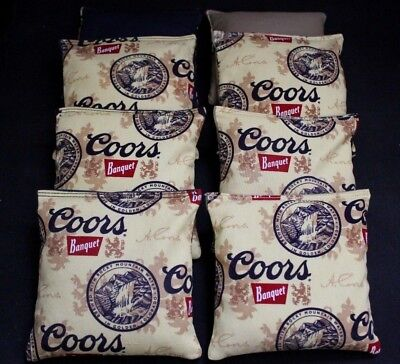 COORS BEER Brewing fabric Yellow and Black 8 ACA Regulation Cornhole bags