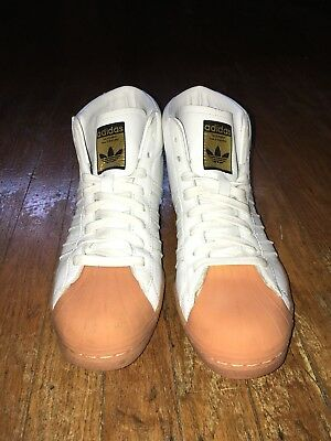 White Leather Adidas High Tops Mens 7.5