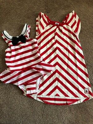 NWT GYMBOREE Girl's Red & White Striped Olivia Sailor Swimsuit & Coverup 4T