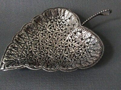 Solid Silver Persian or Indonesian Leaf Tray Dish Middle Eastern  / 115g