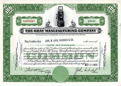 The Gray Manufacturing Company of Hartford, Connecticut 1959 Stock Certificate