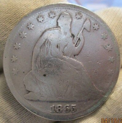 1865-s Seated Half Dollar  reverse cuds and breaks!!!