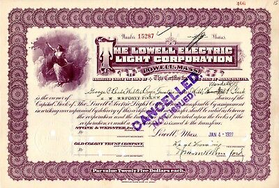 The Lowell Electric Light Corporation of Lowell, MA 1927 Stock Certificate