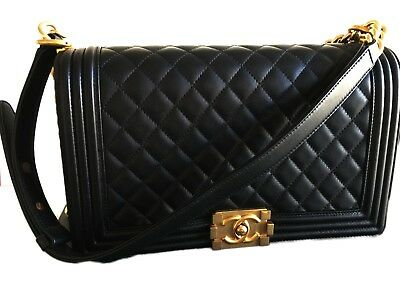 9bbf3617a18d AUTH NEW CHANEL MEDIUM Black Quilted Gold HW Le Boy Bag - $5,499.00 ...