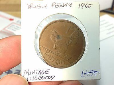 1965 Irish Hen And Chicks One Penny Coin - Ireland Eire - Harp - Lucky
